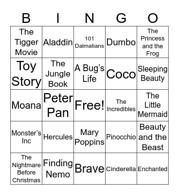 Disney Movie Bingo Card