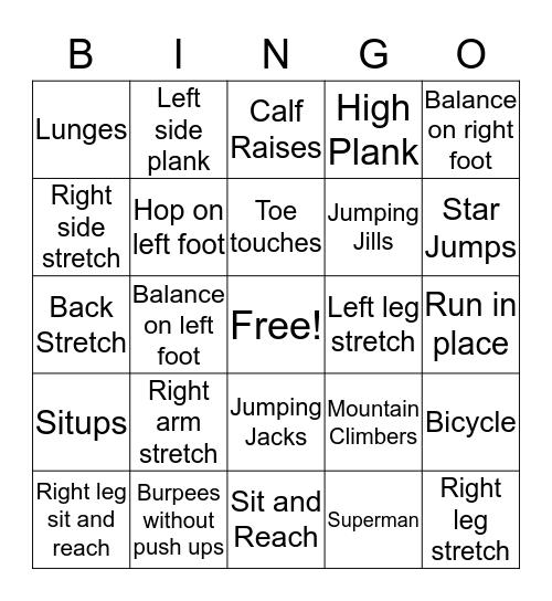 Mr. C's fitness Bingo Card