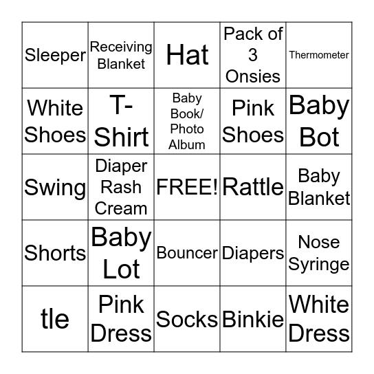 IT'S A GIRL!!! Bingo Card