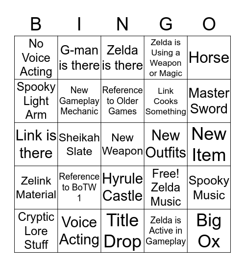Zelda Trailer Bingo Card