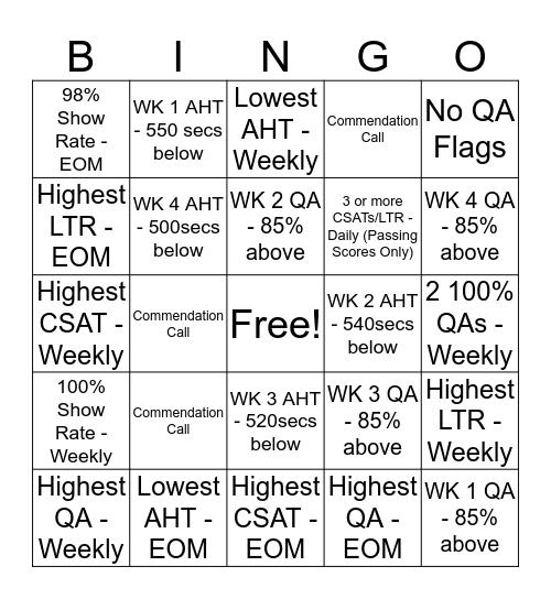 KUDOS Card Bingo Card