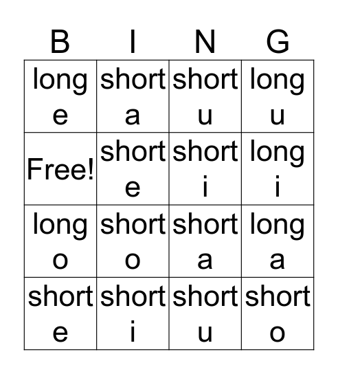 Short & Long Vowel Sounds Bingo Card