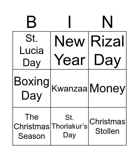 Cultural Bingo Card