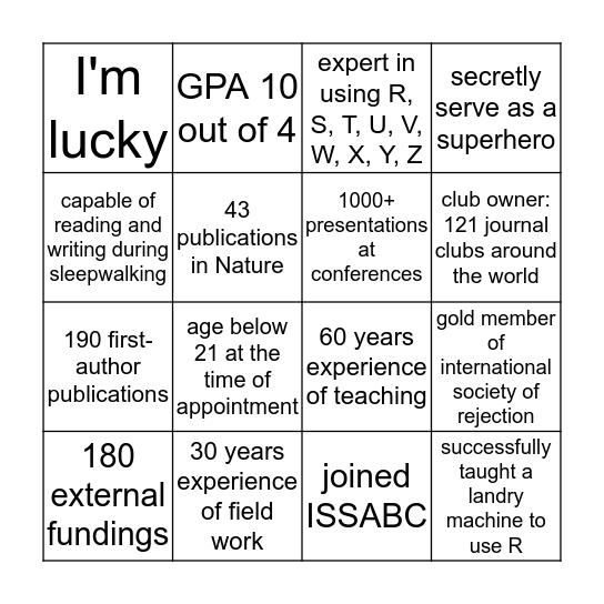 Academic Bingo Card