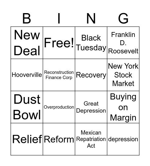 Great Depression Bingo Card