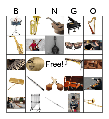 Musical Instruments Bingo Card
