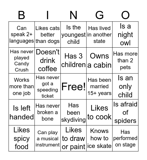 Icebreaker: Find Someone Who Bingo Card