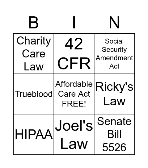 Policy Bingo Card