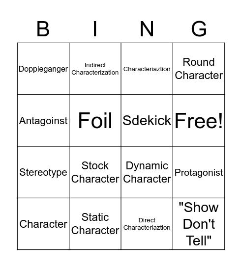 Characterization Bingo Card