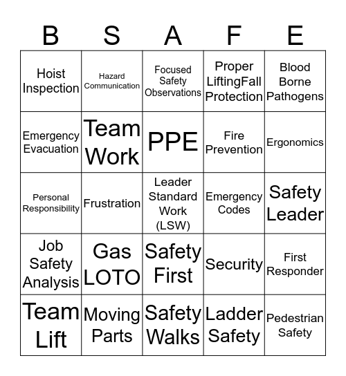 SAFETY BINGO Card