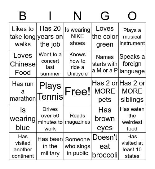 Military Meet 'n Greet Bingo Card