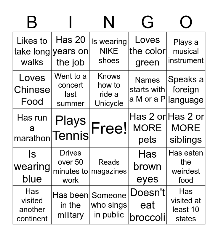 Military Meet 'n Greet Bingo Card