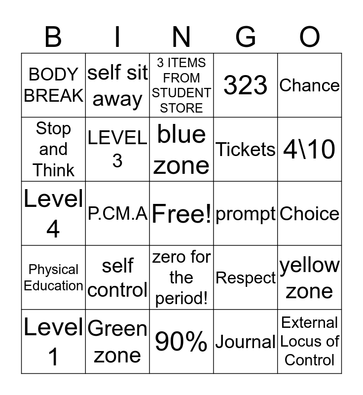 Desert choice schools Bingo Card