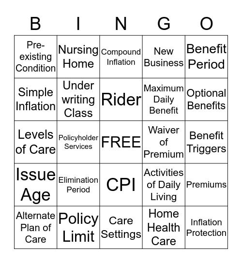 LTCI Overview Bingo Card