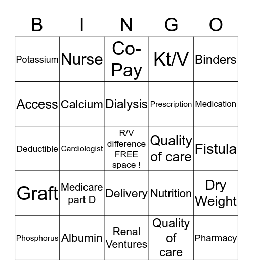Dialysis Bingo Card