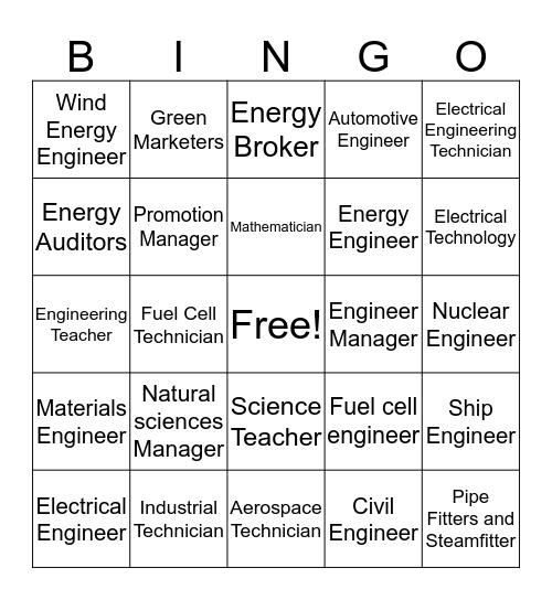 Energy and Energy Bingo Card