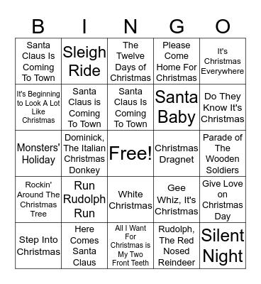 Christmas Song Bingo Card