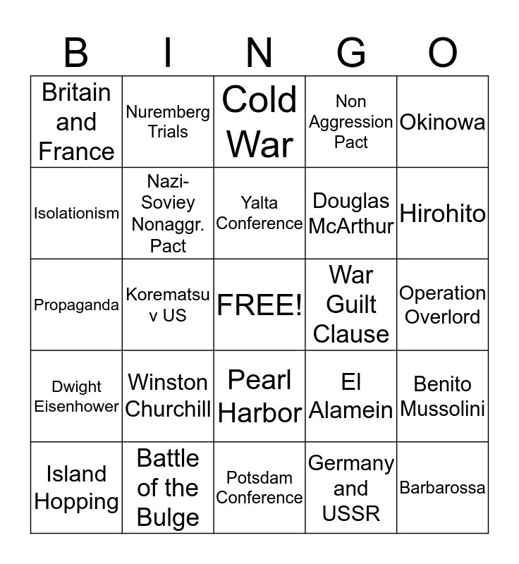 WWII Review Bingo Card