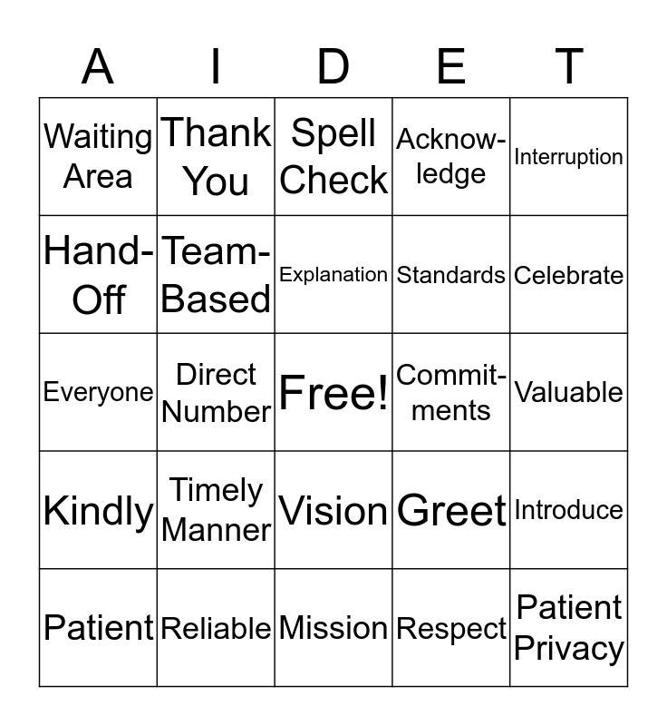 Standards Bingo Card