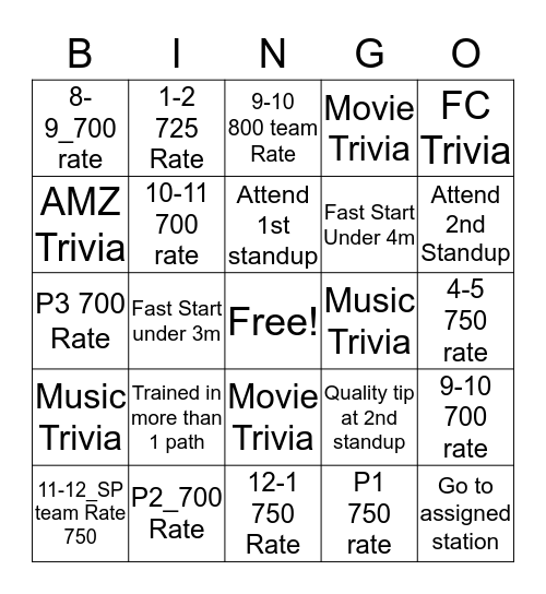 SmartPac Singlo  Bingo Card