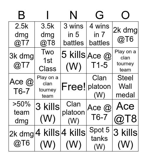 Blitzer Bingo Card