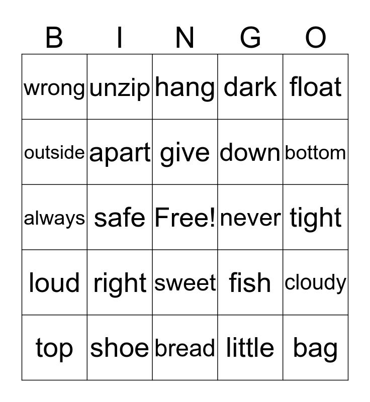 OPPOSITES Bingo Card