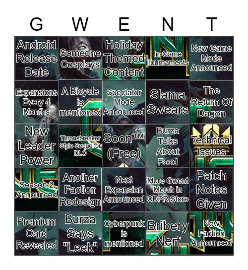 Gwent Roadmap Bingo Card