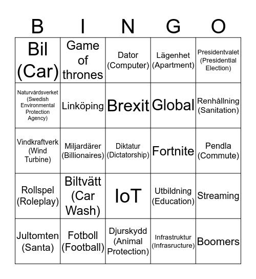 Samtalsbingo (Conversation Bingo) Bingo Card