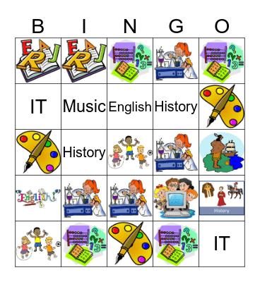 School Subjects Cards Bingo Card
