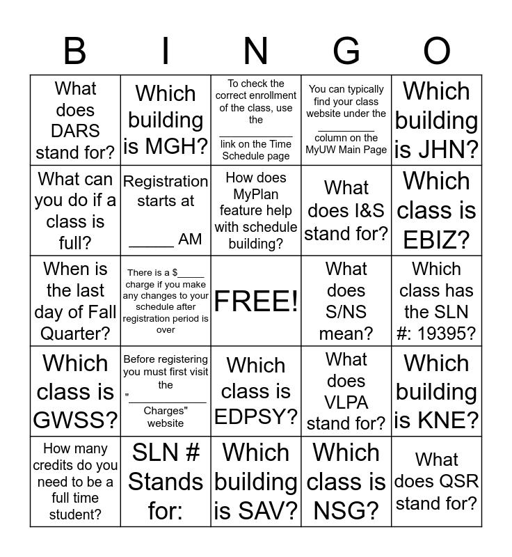 Registration Bingo Card