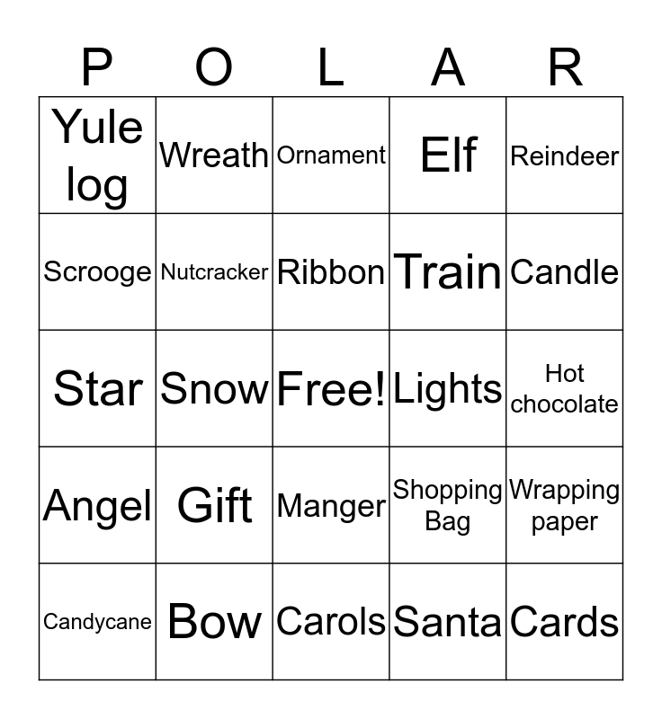 Polar Express Bingo  Bingo Card