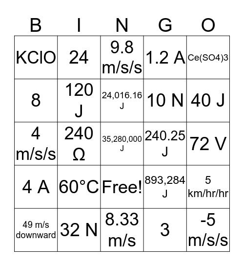 Physical Science Mathematics Bingo Card