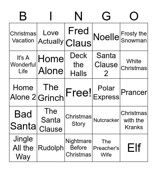 Christmas Movies Bingo Card