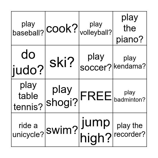 Can you ~ ? Bingo Card