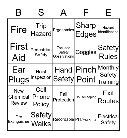 SAFETY BINGO 12/19 Bingo Card