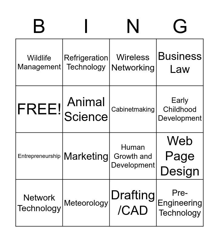 Kansas Career Cluster Course Offerings Bingo Card