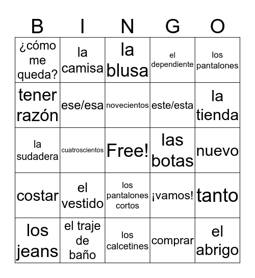 Capitulo 7A Bingo Card