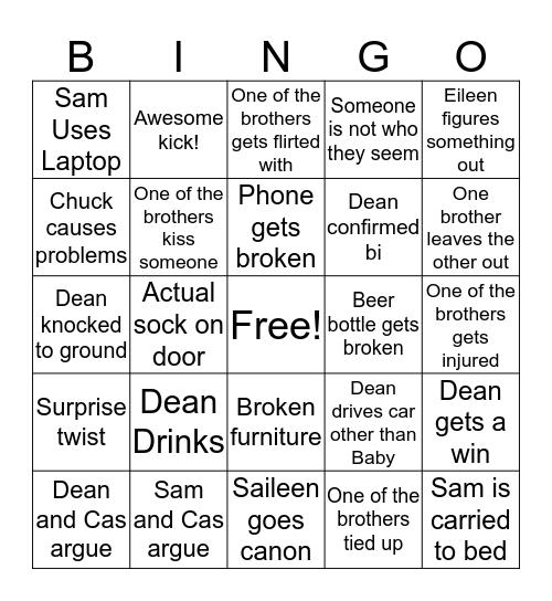 """Supernatural """"Last Call"""" Bingo Card"""