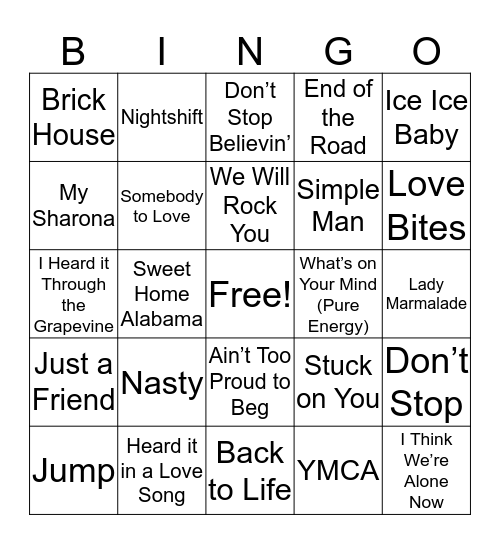 Hits from the 70's to Today Bingo Card