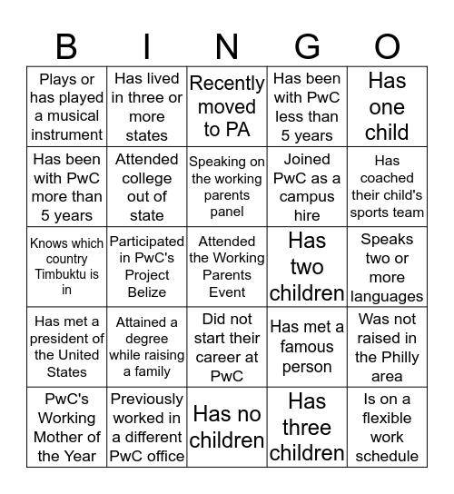 Working Parents Bingo Card