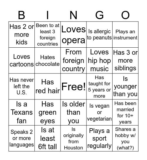 Advancement Staff Bingo Card