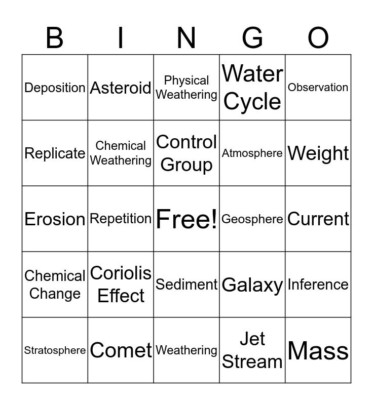 Science Vocabulary BINGO Card