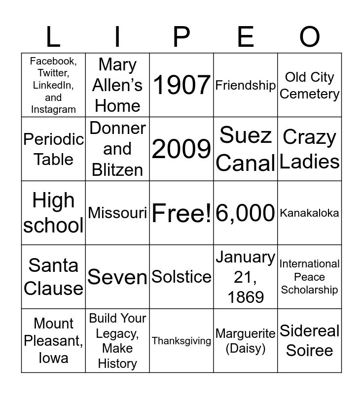 P.E.O. Holiday Bingo! Bingo Card