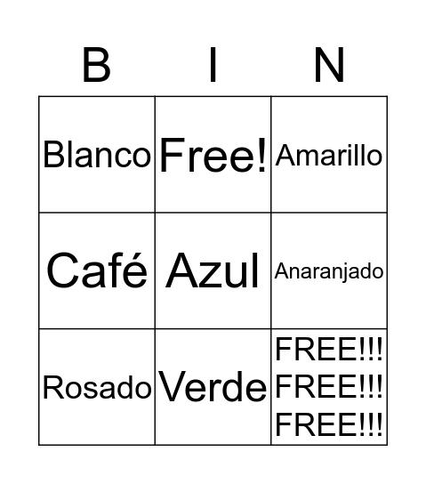 Los colores Bingo Card
