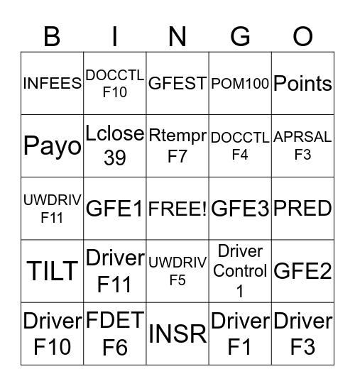 LPS Bingo Card
