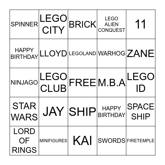 LEGO BINGO Card