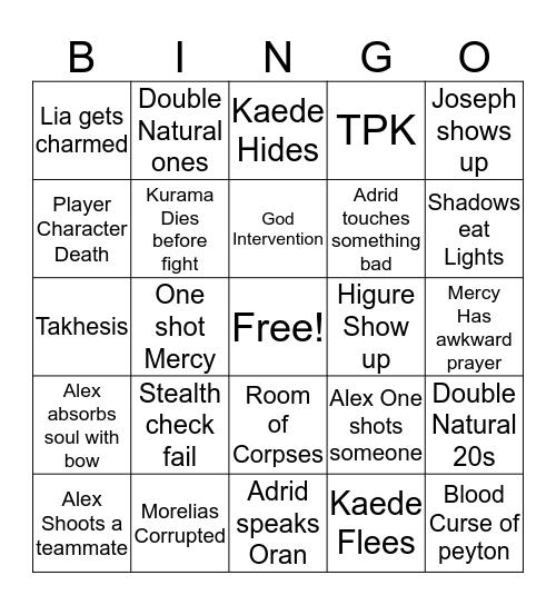 Shadow Realm Bingo Card