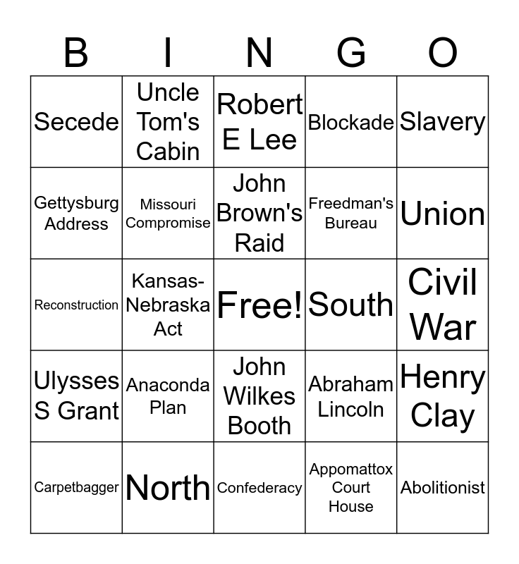 Civil War Bingo Card
