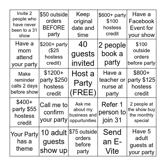 Thirty-One Hostess Bingo Card