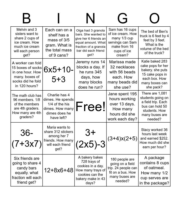 Winter Break Math BINGO Challenge Bingo Card